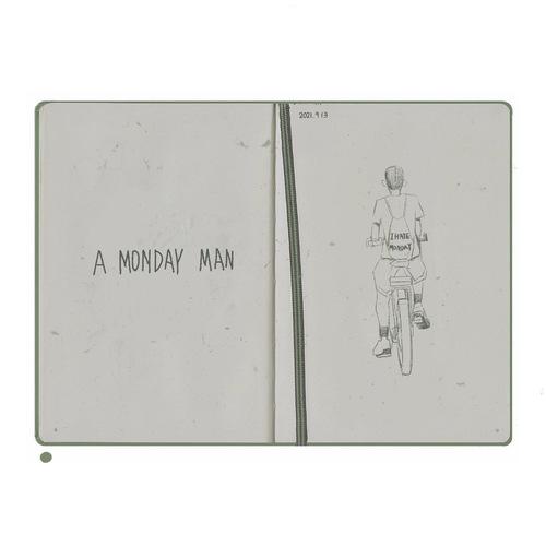 速写日记 周一路上遇到骑车的男...